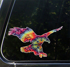 "CLR:CAR - Rainbow Tie Dye Eagle - Car | Truck | Outdoor Use Vinyl Decal © YYDC. (7""w x 4""h)"