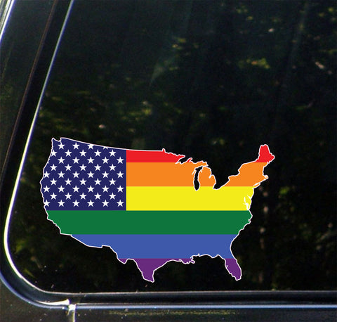 "CLR:CAR - United States Map Pride Flag - Rainbow U.S.A. - Vinyl Car Decal - © 2016 Yadda-Yadda Design Co. (5""w x 3""h)"