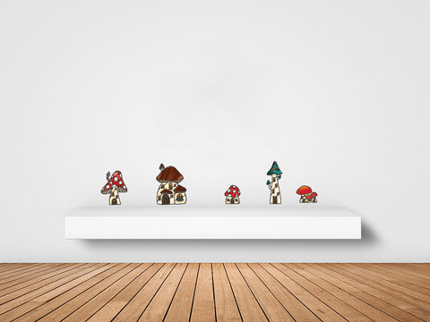 CLR:FLAT - Mushroom Village - Fairy - Gnome - Fantasy - Stained Glass Style Vinyl Wall Decals - Copyright 2017 Yadda-Yadda Design Co. (VARIATIONS AVAILABLE)