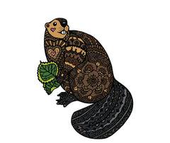 "CLR:FLAT - Patterned Beaver - Vinyl Wall Decal ©YYDC (LG 9""w x 11.5""h)"