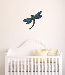 "CLR:FLAT - Patterned Dragonfly - Vinyl Wall Decal - © 2015 YYDC (LG 9.5""w x 9""h)(Size and Color Choices)"