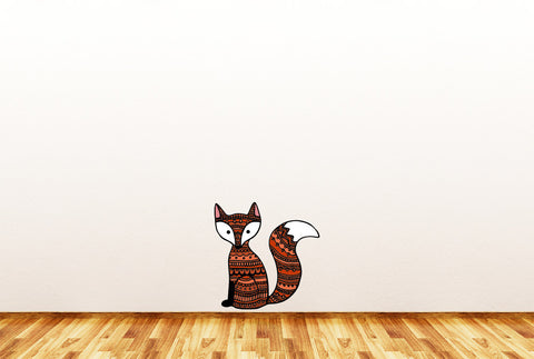 "CLR:FLAT - Patterned Fox- Vinyl Wall Decal ©YYDC (LG, 9.25""w x 9.5""h)(Variations Available)"