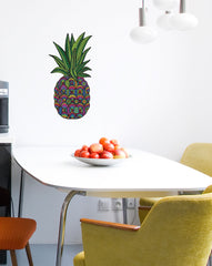 "CLR:FLAT - Patterned Pineapple - Tropical - Vinyl Wall Decal - © 2015 YYDC (LG 6""w x 12""h)(Size and Color Choices)"