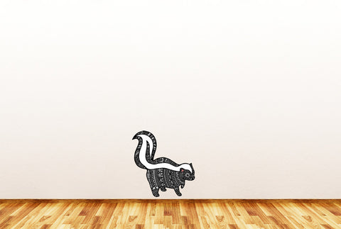 "CLR:FLAT - Patterned Skunk - Vinyl Wall Decal ©YYDC (LG, 9.25""w x 9.75""h) (Variations Available)"