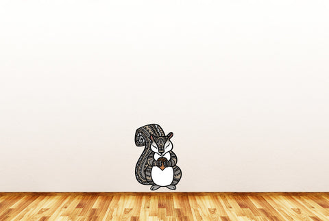 "CLR:FLAT - Patterned Squirrel Holding Acorn - Vinyl Wall Decal ©YYDC (LG, 7""w x 10""h)(Variations Available)"