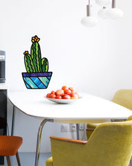"CLR:WALL - Potted Cactus Succulent Plants - D2 - Stained Glass Style - Vinyl Wall Decal - Copyright 2017 © YYDC (LG)(7""w x 12""h)"