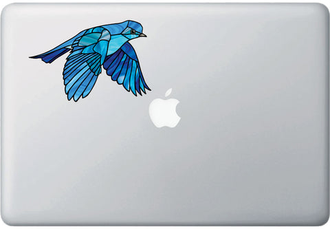 "CLR:MB - Bluebird in Flight - Stained Glass Style - Opaque - Vinyl Macbook Laptop Decal ©YYDC (MD 5.75""w x 4""h)"