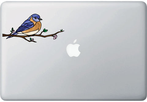 "CLR:MB - Bird - Eastern Bluebird Perched - Stained Glass Style - Opaque - Vinyl Macbook Laptop Decal ©YYDC (MD 6.5""w x 3""h)"