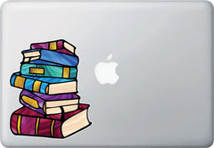 "CLR:MB - Books - Stack of Books - Stained Glass Style - Opaque - Vinyl Macbook Laptop Decal ©YYDC (MD 5""w x 6""h)"