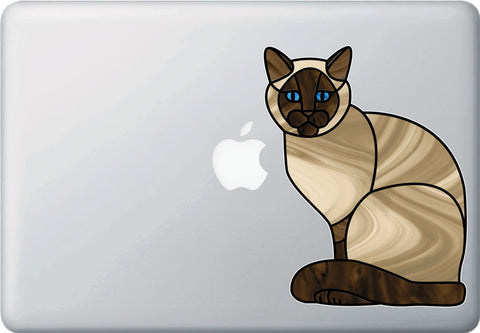 "CLR:MB - SIAMESE Charming Cat Stained Glass Style - Vinyl Decal for Macbook | Laptops © YYDC (5.5""w x 7""h)"