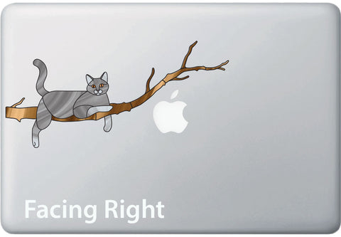 "CLR:MB - Grey Charming Cat on Branch - Stained Glass Style Vinyl Macbook Laptop Decal © YYDC (8.5""w x 4""h)"