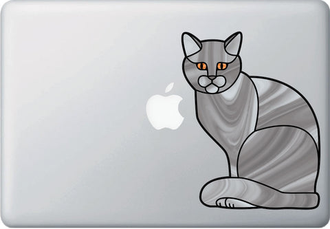 "CLR:MB - GREY Charming Cat Stained Glass Style - Vinyl Decal for Macbook | Laptops © YYDC (5.5""w x 7""h)"
