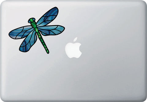 CLR:MB - Dragonfly D1 - Stained Glass Style Vinyl Decal for Laptops | Macbooks | Indoor Use © YYDC  (Size and Color Choices Available)