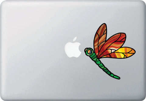 CLR:MB - Dragonfly D2 - Stained Glass Style Vinyl Decal for Laptops | Macbooks | Indoor Use © YYDC  (Size and Color Choices Available)