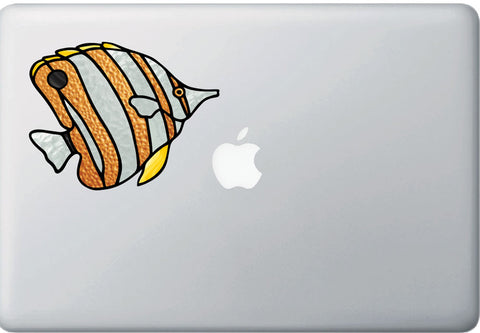 CLR:MB - Tropical Fish - Copperband Butterflyfish - Stained Glass Style Opaque Vinyl Laptop Decal ©2018 YYDC (SIZE CHOICES)