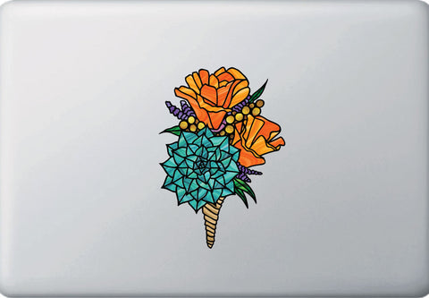 "CLR:MB - Poppy Bouquet - California Poppy - Succulent - Stained Glass Style - Opaque Vinyl Laptop Decal © YYDC (MD 4.25""w x 6""h)"