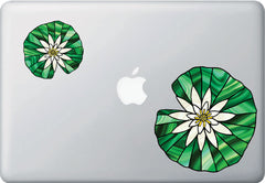 CLR:MB - Waterlily Lilypad - Lotus - Stained Glass Style Vinyl Macbook Laptop Decal © YYDC (VARIATIONS AVAILABLE)