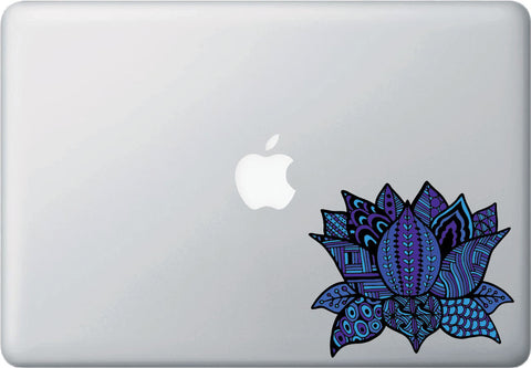 "CLR:MB - Patterned Indigo Lotus Flower - Design 3 - Vinyl Decal for Laptop | Macbook | Indoor Use - © 2016 YYDC (COLOR CHOICES) (5""w x 4.25""h)"