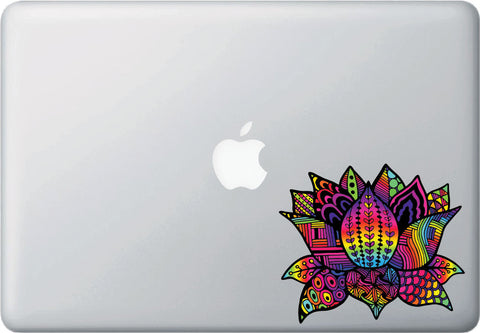 "CLR:MB - Patterned Rainbow Lotus Flower - Design 3 - Vinyl Decal for Laptop | Macbook | Indoor Use - © 2016 YYDC (COLOR CHOICES) (5""w x 4.25""h)"
