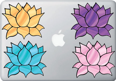 "CLR:MB - Stained Glass Style Lotus Flower - Design 4 - Vinyl Decal for Laptop | Macbook | Indoor Use - © 2016 YYDC (COLOR CHOICES) (5""w x 4.5""h)"