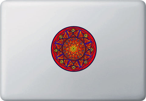 "CLR:MB -  FIRE Element Mandala Decal -  Laptop | Macbook Vinyl Decal - © 2015 YYDC (4""dia.)(Variations Available)"