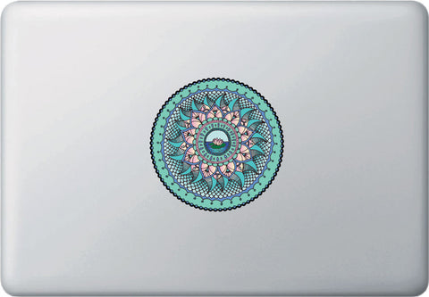 "CLR:MB - WATER Element Mandala Decal -  Laptop | Macbook Vinyl Decal - © 2015 YYDC (4""dia.)(Variations Available)"