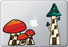 CLR:MB - Mushroom Village - Fairy - Gnome - Fantasy - Stained Glass Style Vinyl Macbook Laptop Decals - Copyright 2017 Yadda-Yadda Design Co. (VARIATIONS AVAILABLE)