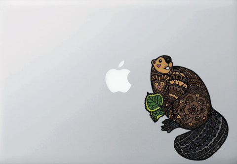 "CLR:MB - Patterned Beaver - Cute Beaver - Vinyl Macbook Laptop Decal ©YYDC (MD 5""w x 6""h)"