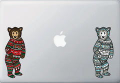 "CLR:MB - Patterned Bear - Pajama Bear - Vinyl Macbook Laptop Decal - Copyright ©YYDC (MD 2.5""w x 6""h)"