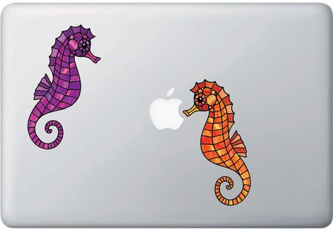 CLR:MB - Seahorse - Stained Glass Style - Vinyl Macbook or Laptop Decal  ©2016 YYDC (VARIATIONS AVAILABLE)