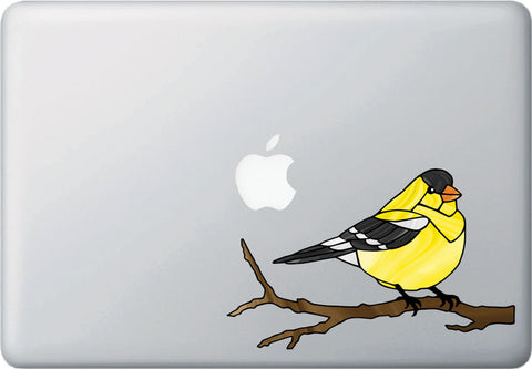 "CLR:MB - Bird - Goldfinch Perched - Stained Glass Style - Opaque - Vinyl Macbook Laptop Decal ©YYDC (MD 7""w x 4.5""h)"