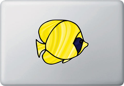 CLR:MB - Tropical Fish - Bluecheek Butterflyfish - Stained Glass Style Opaque Vinyl Laptop Decal ©2018 YYDC (SIZE CHOICES)