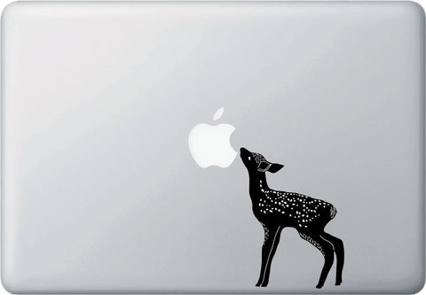 CLR:MB - Fawn Eating Apple - Baby Deer - Macbook | Laptop | Trackpad | Tablet Vinyl Decal Sticker ( Black & White) (Size Variations Available)