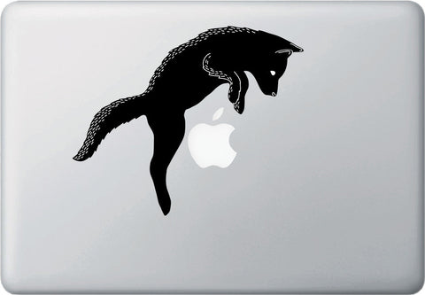 CLR:MB - Puppy Dog Jumping - Macbook | Laptop | Trackpad | Tablet Vinyl Decal Sticker ( Black & White) (Size Variations Available)