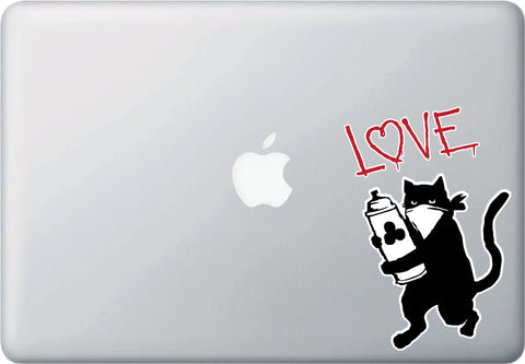 "CLR:MB - Cat Graffiti Artist - Love or Meow - Vinyl Car Decal - Copyright © 2015 YYDCo. (4""w x 6""h)"