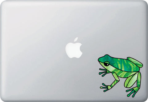 "CLR:MB - Dart Frog Stained Glass Style - Vinyl Decal for Laptops Macbooks © YYDC  (4""w x 3.75""h) (Color Choices)"