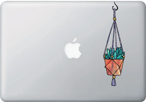 CLR:MB - Hanging Succulent Plant - D2- Stained Glass Style - Vinyl Macbook Laptop Trackpad Tablet Decal - Copyright 2017 © YYDC (VARIATIONS AVAILABLE)