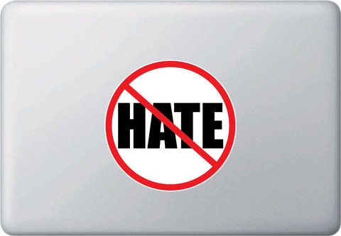 "CLR:MB - No Hate! Stop Hate - Anti-Hate - Vinyl Macbook Laptop Decal Sticker - © YYDC (5"" diameter)"