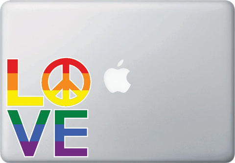 CLR:MB - LOVE Sculpture w PEACE Sign Rainbow PRIDE - Vinyl Laptop Decal Sticker Copyright YYDCo. (SIZE CHOICES)