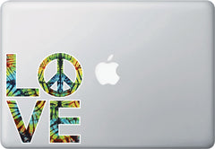 CLR:MB - LOVE Sculpture w PEACE Sign in Rainbow Tie Dye - Vinyl Laptop Decal Sticker Copyright YYDCo. (SIZE CHOICES)