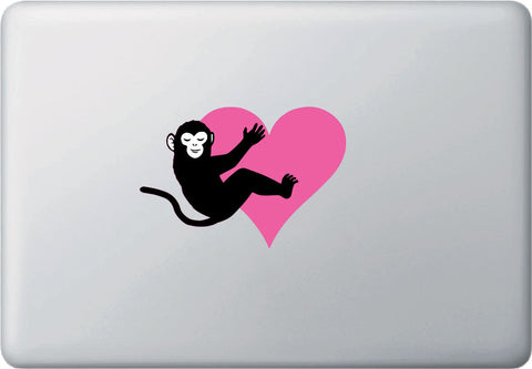 CLR:MB - Monkey Hugging Heart - Vinyl Decal for Laptop Macbook - © 2016 YYDCo. (SIZE & COLOR CHOICES)