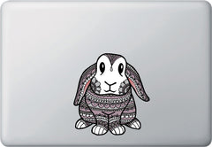 "CLR:MB - Patterned Bunny Rabbit - Vinyl Macbook Laptop Decal - Copyright ©YYDC (MED)(5""w x 5.5""h)"