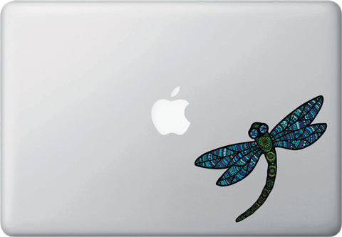 "CLR:MB - Patterned Dragonfly - Vinyl Laptop Decal ©YYDC (5""w x 4.75""h) (Color Choices)"