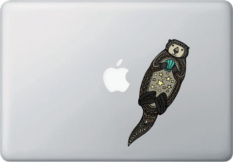 "CLR:MB - Patterned Otter - Sea Otter - Stars - Shells - Vinyl Macbook Laptop Decal ©YYDC (2""w x 6.5""h)"
