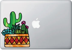 CLR:MB - Potted Cactus Succulent Plants - D3- Stained Glass Style - Vinyl Macbook Laptop Trackpad Tablet Decal - Copyright 2017 © YYDC (VARIATIONS AVAILABLE)