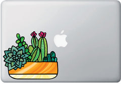 CLR:MB - Potted Succulent Plants - D1- Stained Glass Style - Vinyl Macbook Laptop Trackpad Tablet Decal - Copyright 2017 © YYDC (VARIATIONS AVAILABLE)