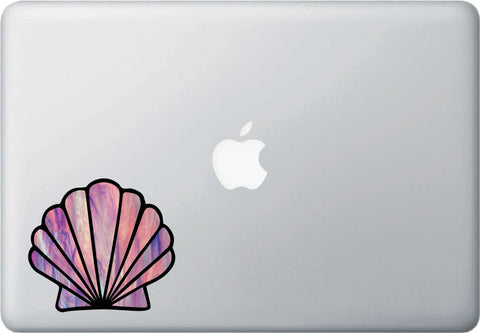 CLR:MB - Iridescent Scallop Seashell - Stained Glass Style - Vinyl Decal for Macbook| Laptop| Indoor Use - © 2016 YYDCo. (Size and Color Choices Available)