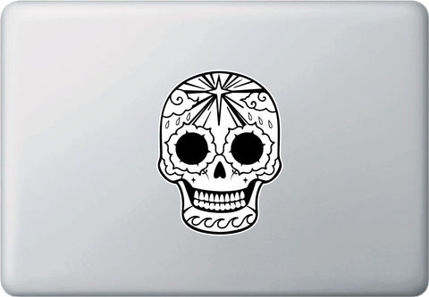 "CLR:MB - Sugar Skull with Star Morning Glories and Waves - Day of the Dead - Día de los Muertos - Vinyl Car Decal - ©YYDC (5""w x 4""h)"