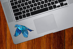 "CLR:TP - Bluebird in Flight - Stained Glass Style - Opaque - Vinyl Trackpad Tablet Decal ©YYDC (SM 3.25""w x 2""h)"