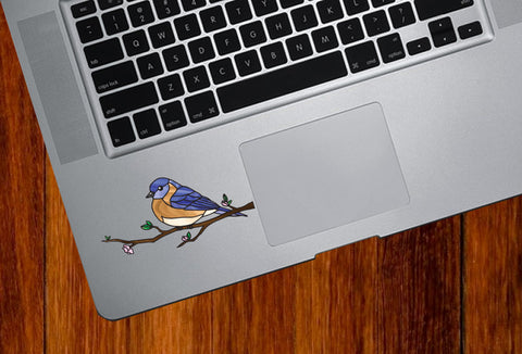 "CLR:TP - Bird - Eastern Bluebird Perched on Branch - Stained Glass Style - Opaque - Vinyl Trackpad Tablet Decal ©YYDC (SM 3.5""w x 1.75""h)"